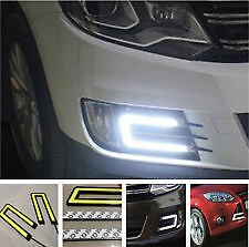 AUDI U-SHAPED 6000K TRON STYLE COB WHITE LED DAYTIME RUNNING LIGHTS X2