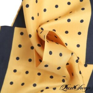 NWOT Made in Italy 100% Silk Brassy Gold Navy Pois Polka Dot Piped Pocket Square