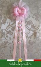 Fiocco nascita neonata femmina coccarda personalizzato rosa 17xlunghezza nome