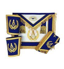 Masonic Blue Lodge Master Mason Apron Fringe Set Apron,Collar gauntlets CuffS
