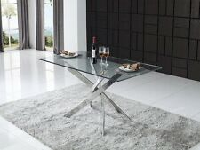New Kalmar 160cm Rectangular Tempered Glass Dining Table