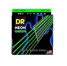 DR Strings NGE-9 Coated Nickel Hi-Def Green Electric Guitar Strings, Light, 9-42