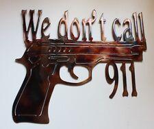 "We Don't Call 911 Wall Art Decor Copper/Bronze 12"" x 103/4"""