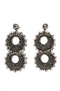Deepa Gurnani Womens FS12E1 Glass Stainless Steel Drop Earrings Gunmetal Tone