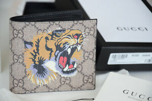 Authentic Gucci Tiger Print GG Supreme Wallet Bifold Purse