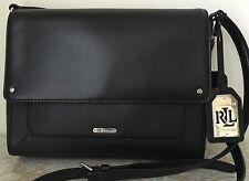 NWT RALPH LAUREN Fulton Messenger Black Leather tote BAG PURSE Satchel $178