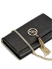 NWT GUESS Tassel Flap Crossbody Handbag Purse Clutch Chain Strap Black