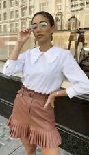 Zara Pink Pleated Faux Leather Mini Skirt Size Large L BNWT