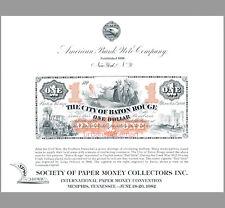New listing SO24 ABNC Souvenir Card $1 City of Baton Rouge Red Stick 1860s SPMC 1982 Mint