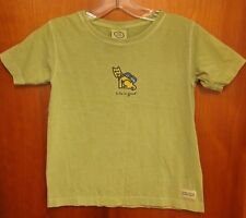 LIFE IS GOOD youth small T shirt New England avacado-green Dog w/ Backpack tee