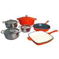 Le Chef 10-Piece Cookware Set Enameled Cast Iron, Orange. on Sale!