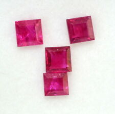 Natural Ruby Square Cut 3.25 mm 1.12CTS Lot 07 Pcs Red Pink Shade Loose Gemstone