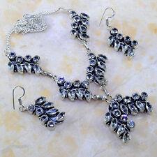"Handmade White Topaz Gemstone 925 Sterling Silver Necklace 21"" #E72498"