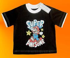 """Bebé Niños o Niñas Negro Super Mario """"impresionante"""" Camiseta. 2 años."""