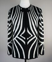 Stunning TRICOVILLE Vintage Cardigan Size 10 Black White Special Occasion Top