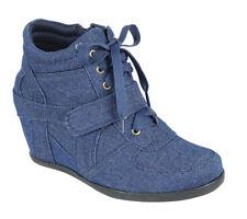 New Women Lace Up Hook Loop Fashion Sneaker Ankle Booties Boot Hidden Wedge Heel
