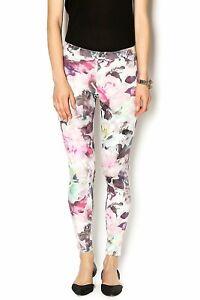 HUE Women's Large Floral Print Super Smooth Denim Leggings