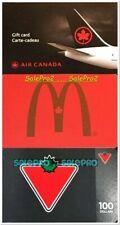 3x CANADIAN TIRES McDONALD GOLD AIR CANADA PLANE RARE COLLECTIBLE GIFT CARD LOT