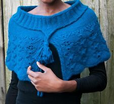 Handmade cape in  solid blue merino and baby alpaca blend -S