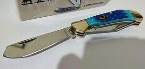 DAKOTA BLUE BONE HUNTING POCKET KNIFE BLACK HILLS SADDLE HORN !!!