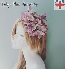 Mauv Dusky Purple Vintage Hydrangea Headband Floral Facinator Wedding Party