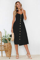 Women Button Front Casual Summer New Beach Boho Maxi Cocktail Evening Prom Dress