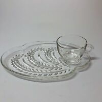 Homestead Glass Snack Set - replacement tray / plate & cup Federal Glass (Q)