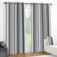 STRIPED RING TOP FULLY LINED PAIR EYELET READY MADE CURTAINS BLACK CREAM GREY