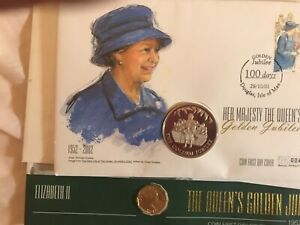 First Day Coin Cover Queens Queens Golden Anniversary  2
