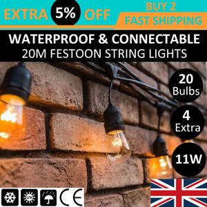 20m Heavy-Duty Outdoor Festoon Garden String Lights Patio Wedding Xmas Lighting