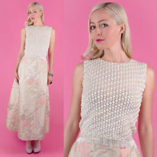 GINO ROSSI Vtg 60s DIAMOND White Beaded Fringe Beads TROPHY Sequins Party Top XS