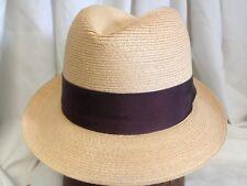 Vintage Empire State Deflex Milan Straw Natural Summer Fedora Hat - Size 7