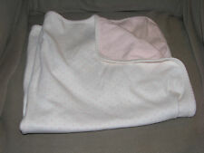 TOMMY HILFIGER VINTAGE BABY GIRL BLANKET WHITE PINK COTTON 2-PLY STARS SWADDLE