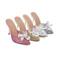 Womens Glitter Bling Bling High Heel Stilettos Clear Flower Mules Dress Slides