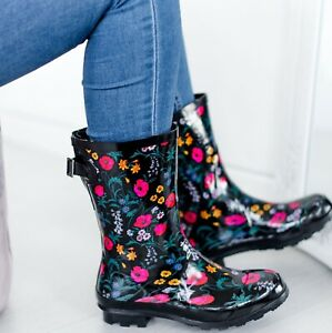WOMENS WELLIES GARDEN FLOWER RAIN FESTIVAL LADIES WELLINGTON WATERPROOF BOOTS