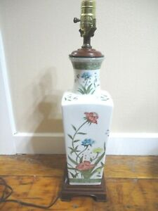 """Oriental Porcelain Table Lamp 20"""" tall Hand Painted Works"""