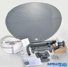 Freesat / Sky 80cm zone 2 satellite dish & quad lnb + 50m White coax install kit