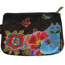 Laurel Burch Blue Cat & Butterflies Canvas Cosmetic Bag Pouch Bright Multi-Color