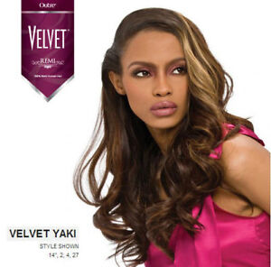 """VELVET REMI YAKI 100% HUMAN HAIR WEAVE EXTENSION BY OUTRE REMY YAKY 10S""""-14"""""""