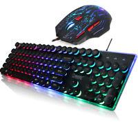 USA Rainbow LED Backlit USB Ergonomic PC Gaming Practical Keyboard and Mouse Set