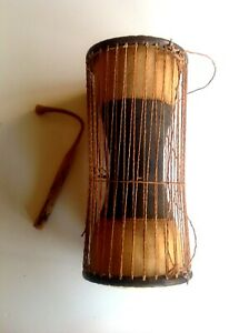 "Hand Carved Wooden African Talking Drum 18"" Comes with Wooden Beater"