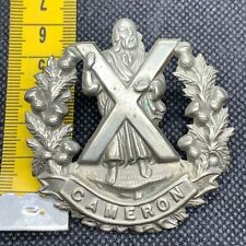 The Cameron Highlanders - WW1 WW2 Original Kings Crown Cap Badge - #3 - B4