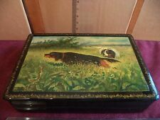 """Vintage 1959/(52?) MSTERA  Russian laquer box oil-painted  """"DOGGIES """" signed"""