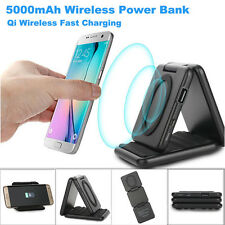 2 in 1 5000mAh Backup Power Qi Wireless Charger For iphone XS/XR/X Samsung S9 UK