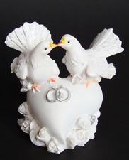 4 STÜCK Tauben mit Klammer 20cm weiß Glitzer Hochzeitsdeko Gastgeschenke Taube