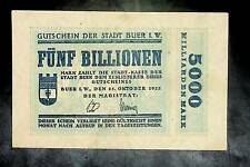1923 Germany BUER  5 Trillion / 5.000.000.000.000 Mark Banknote