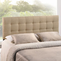 Tufted Upholstered Fabric Square King Size Headboard in Beige