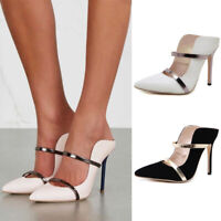 Womens Strappy High Stiletto Heels Mules Ladies Pointed Toe Sandals Office Shoes