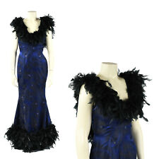 Vintage 50s 60s Blue Satin Brocade Black Feather Trim Mermaid Evening Dress S