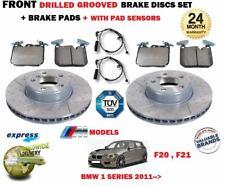 FOR BMW 114D 116D 118D 120D 2011-> FRONT DRILLED BRAKE DISCS SET + PADS + SENSOR